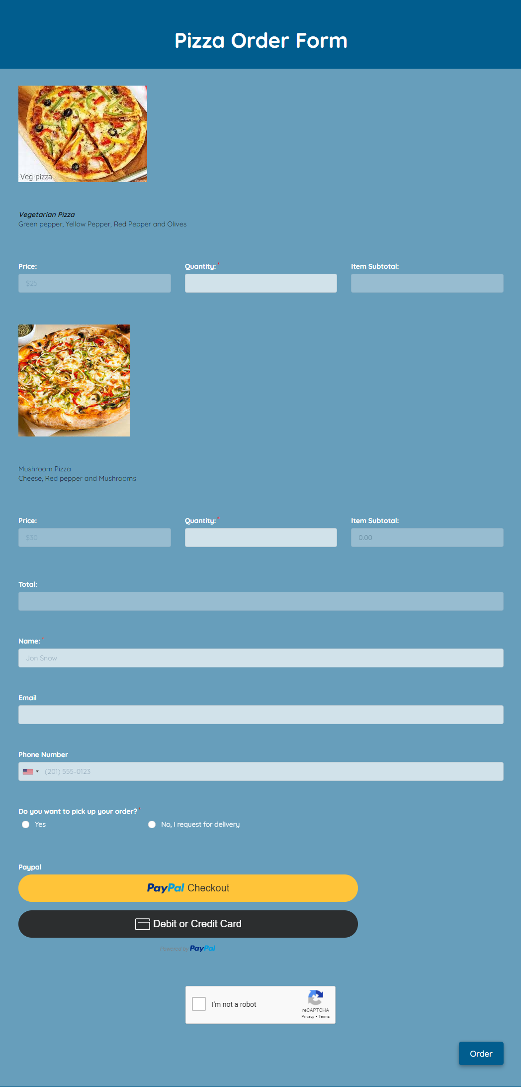 Pizza Order Form Template template