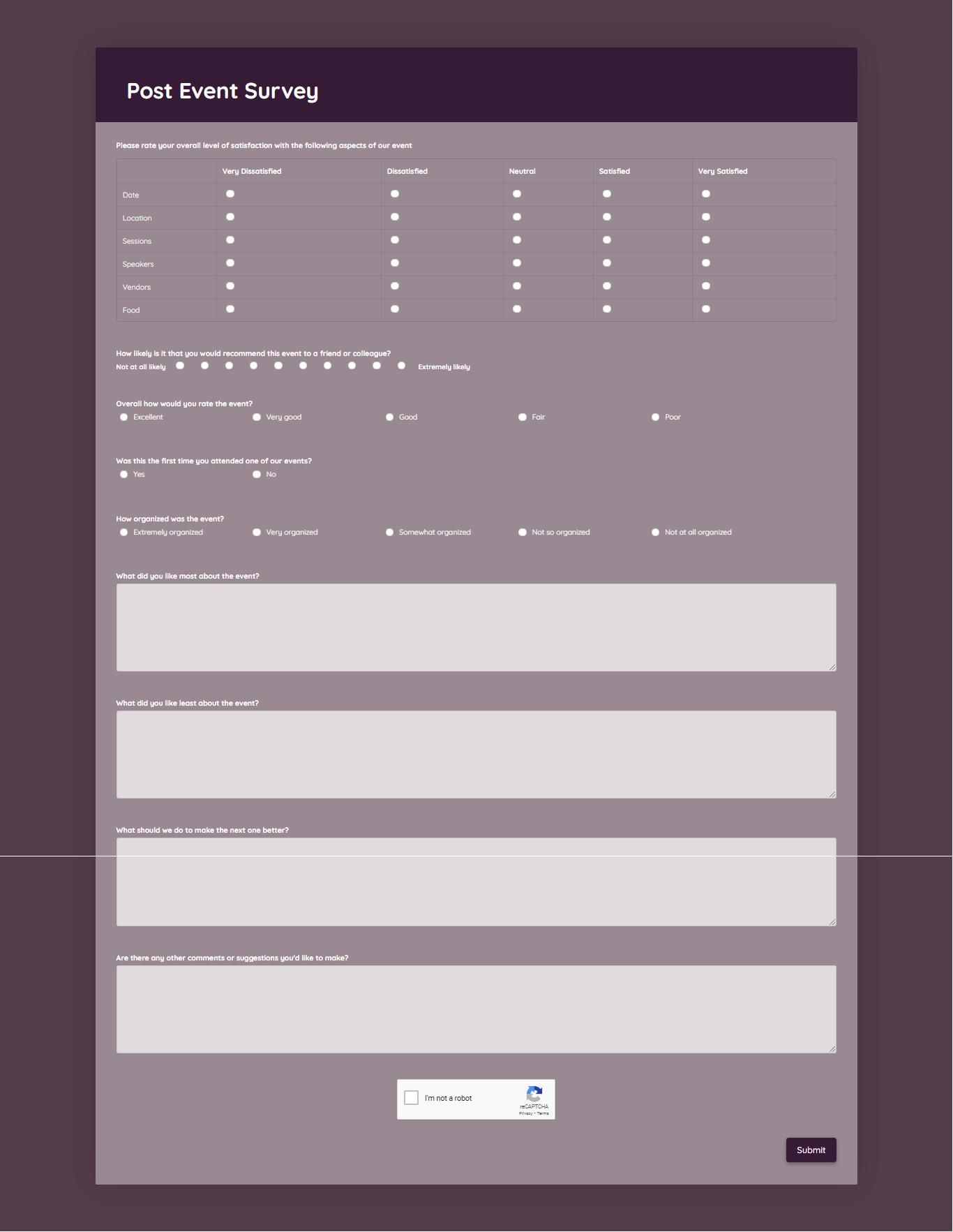 Post Event Survey Template template