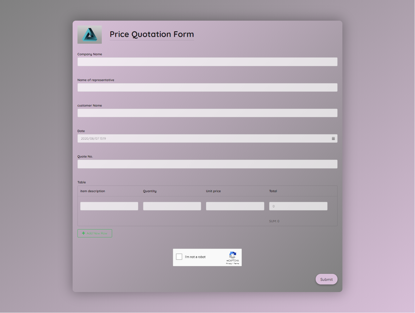 Price Quotation Form Template template