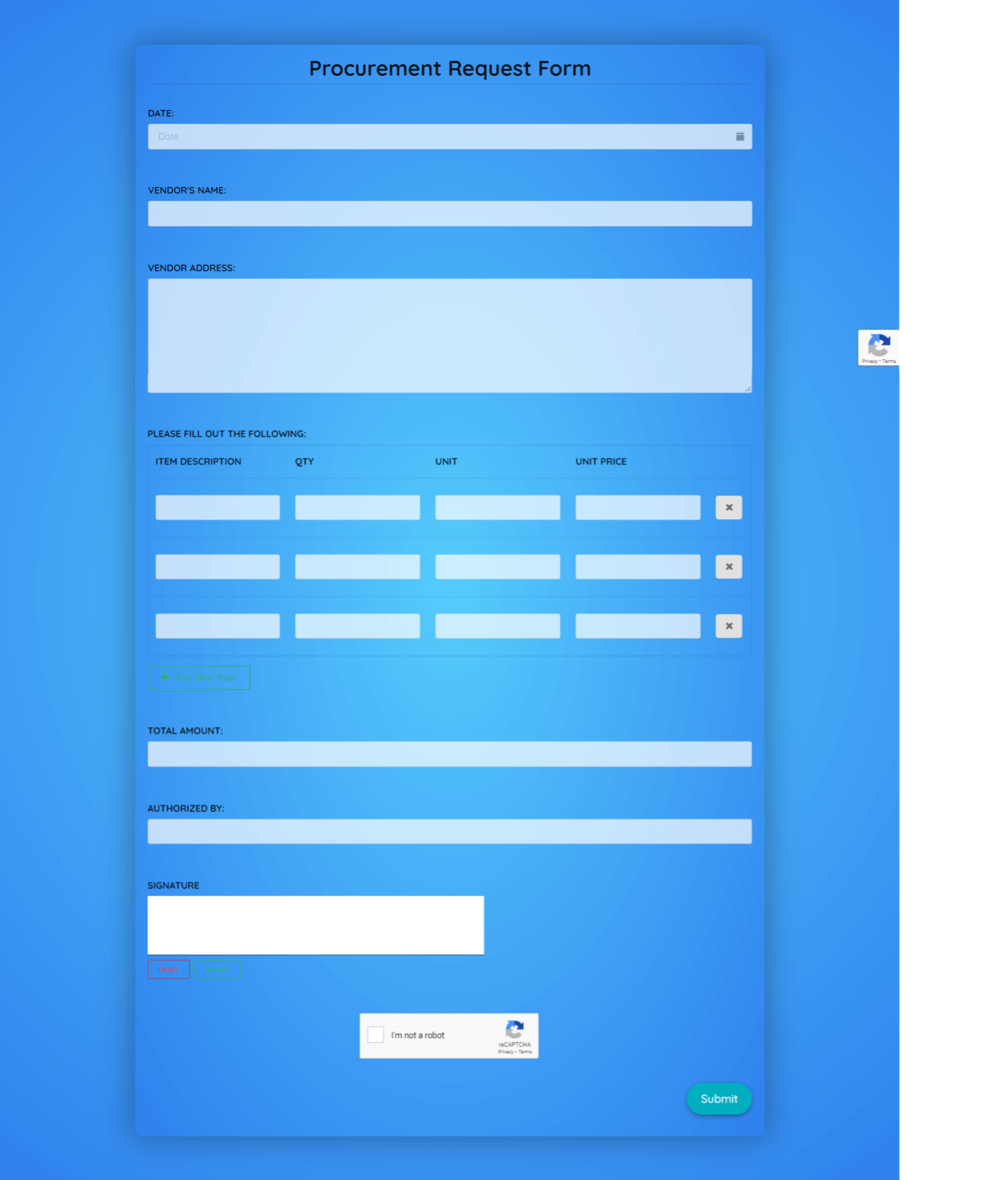 Procurement Request Form Template template