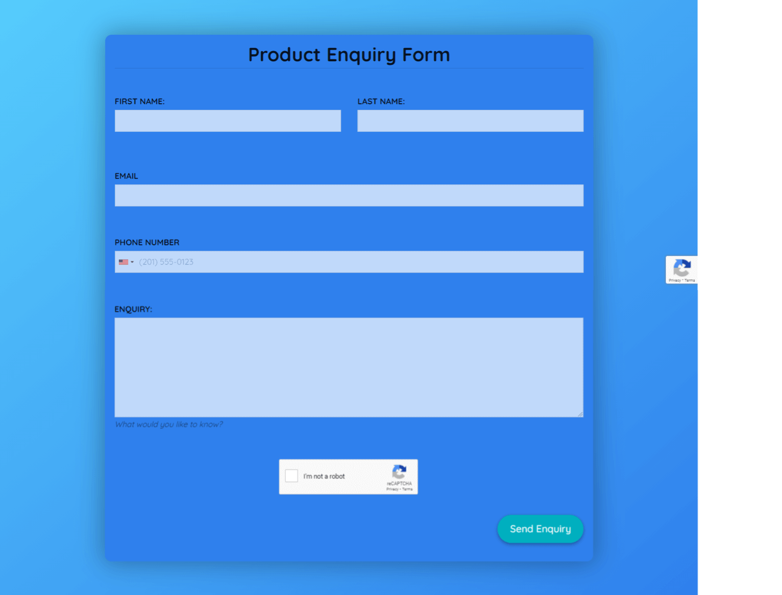 Product Enquiry Form Template template