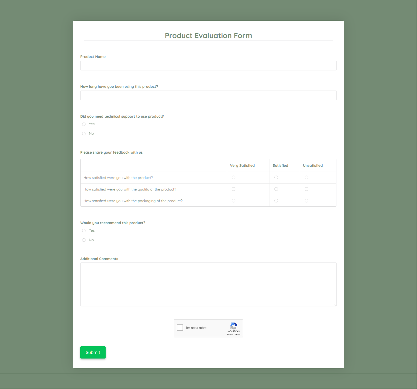 Product Evaluation Form Template template