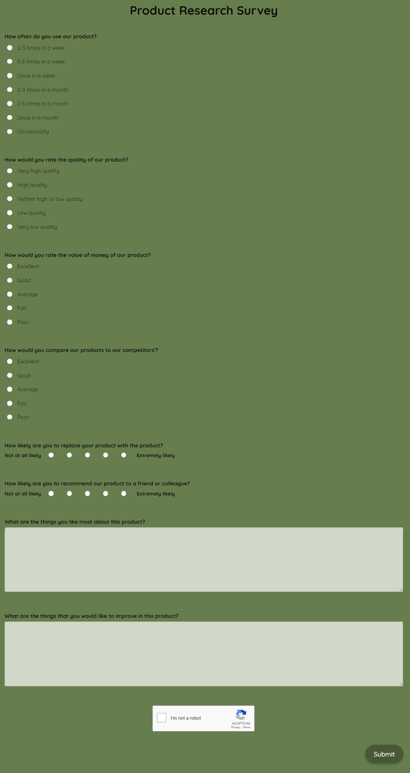 Product Research Survey Template template