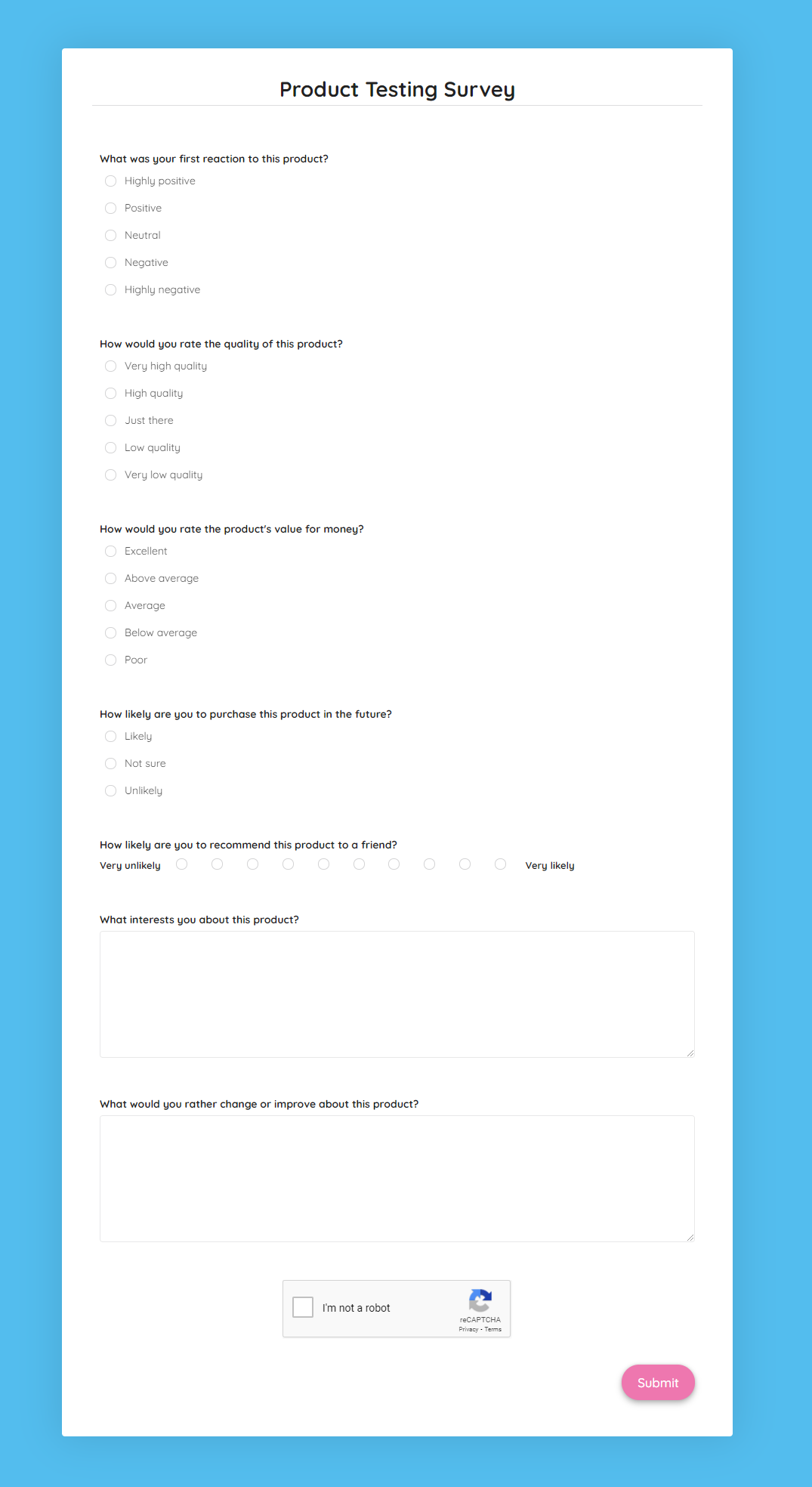 Product Testing Survey Template template