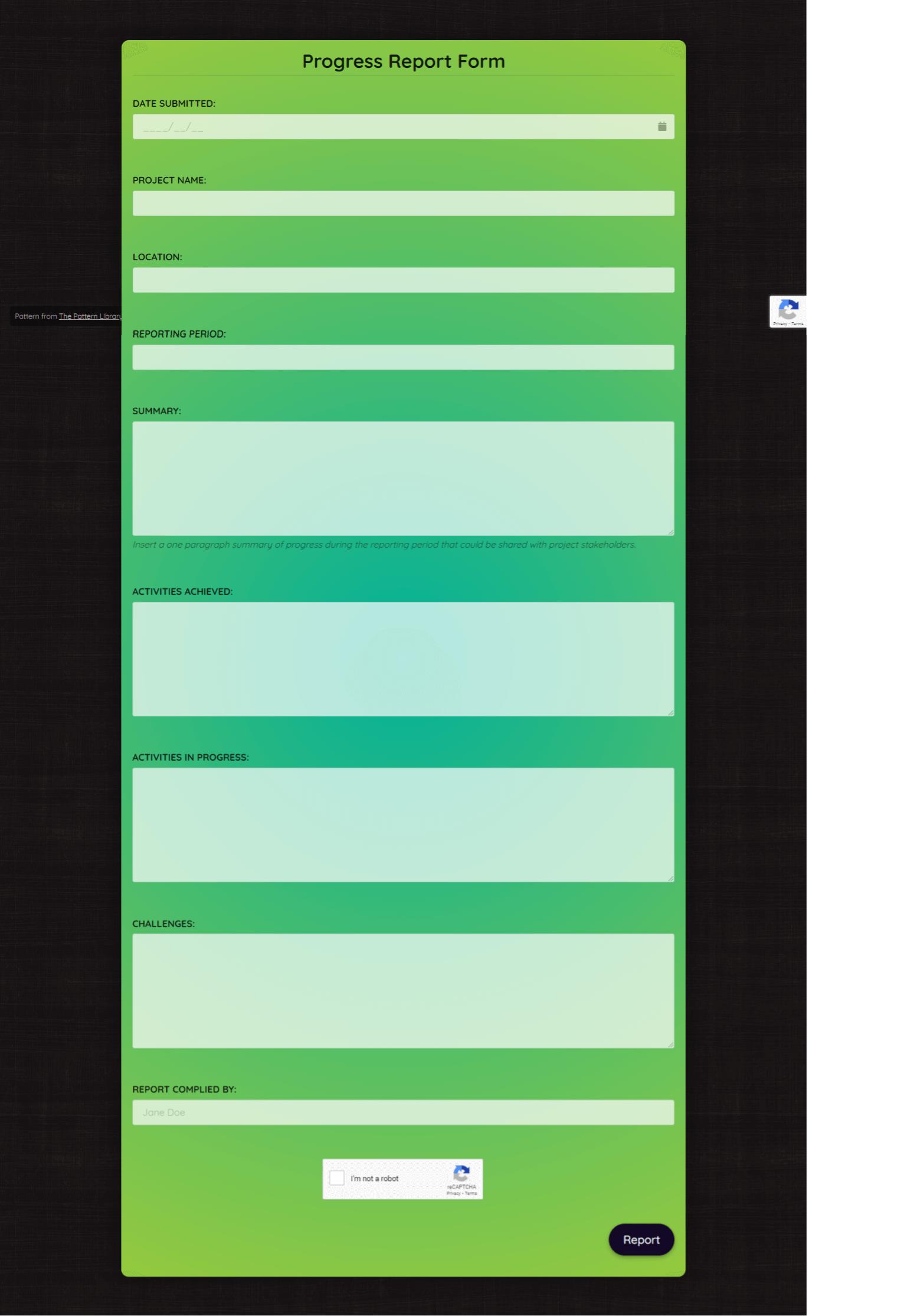 Progress Report Form Template template