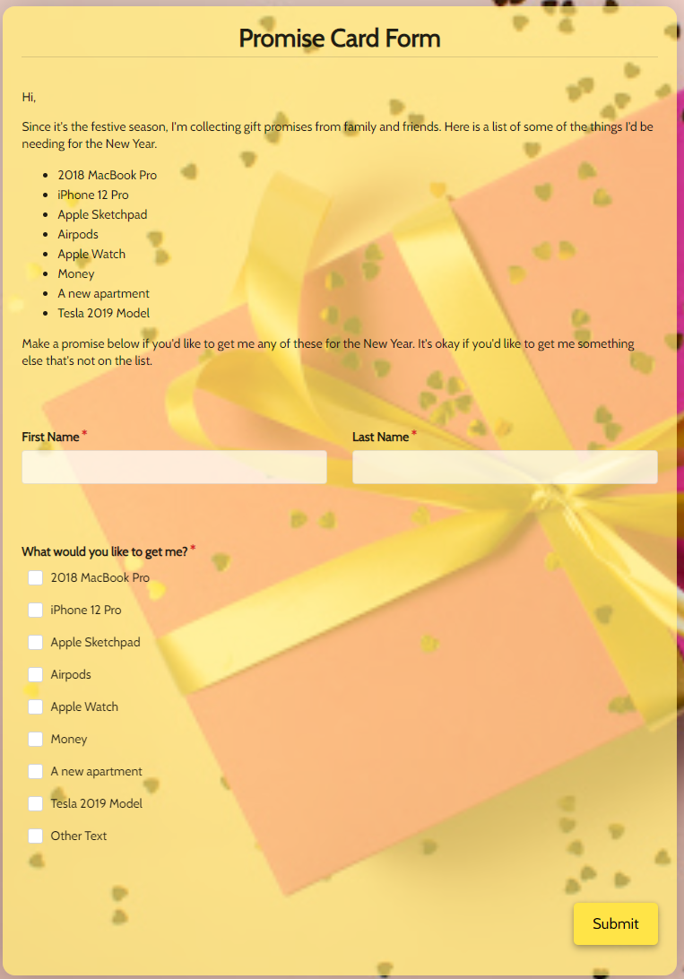 Promise Card Form Template template