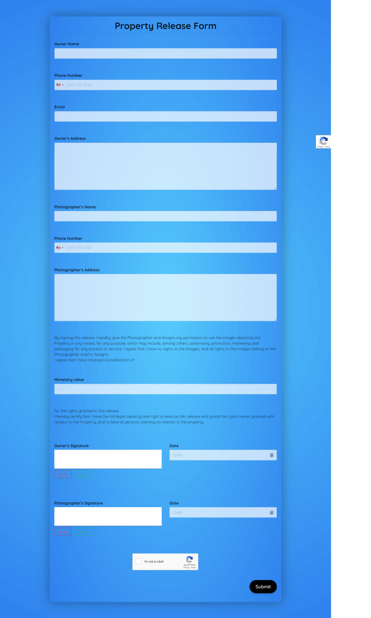 Property Release Form Template template