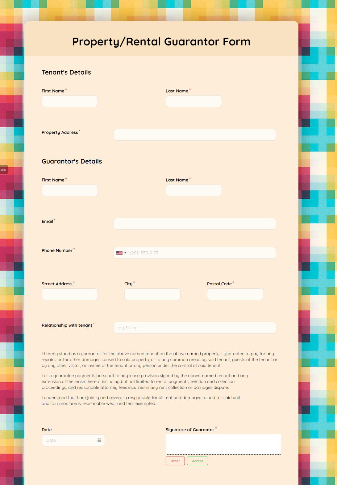 Property Rental Guarantor Form template
