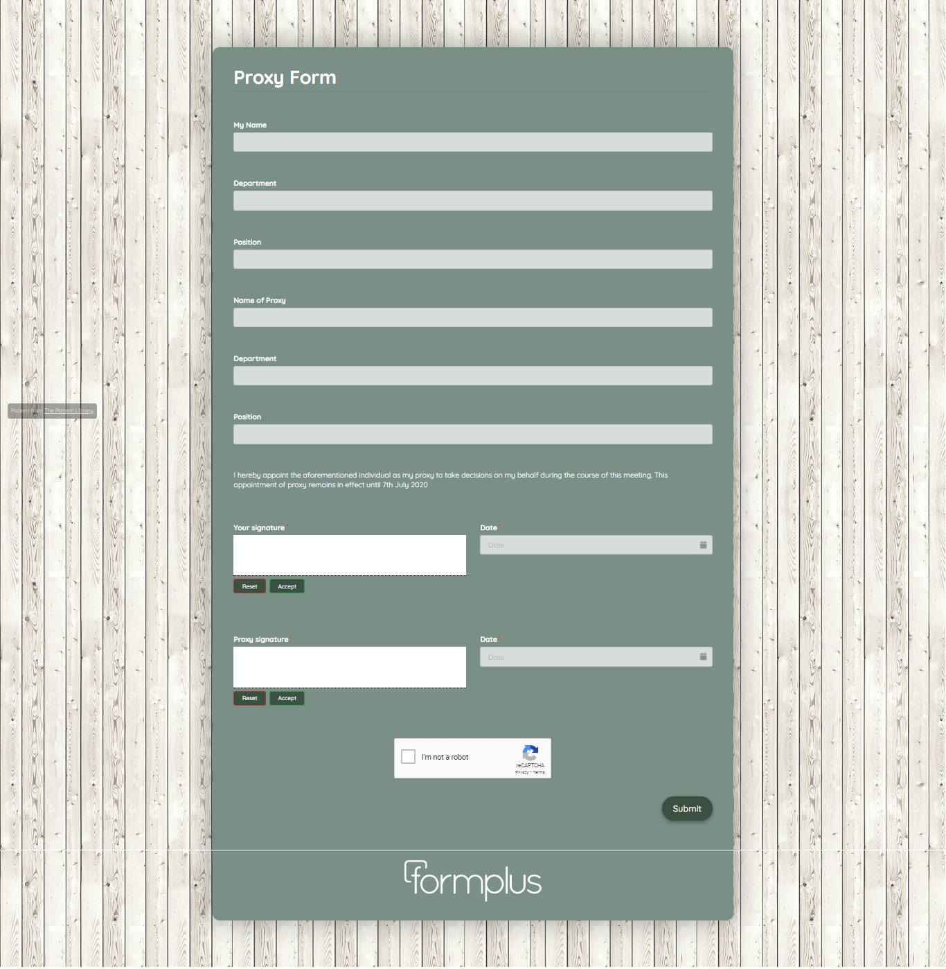 Proxy Form Template template