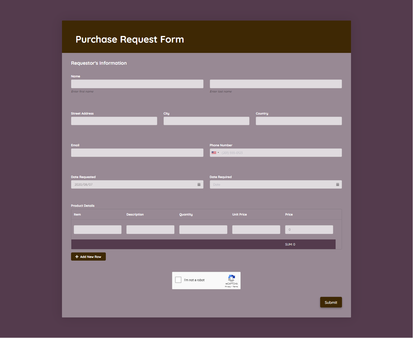 Purchase Request Form Template template