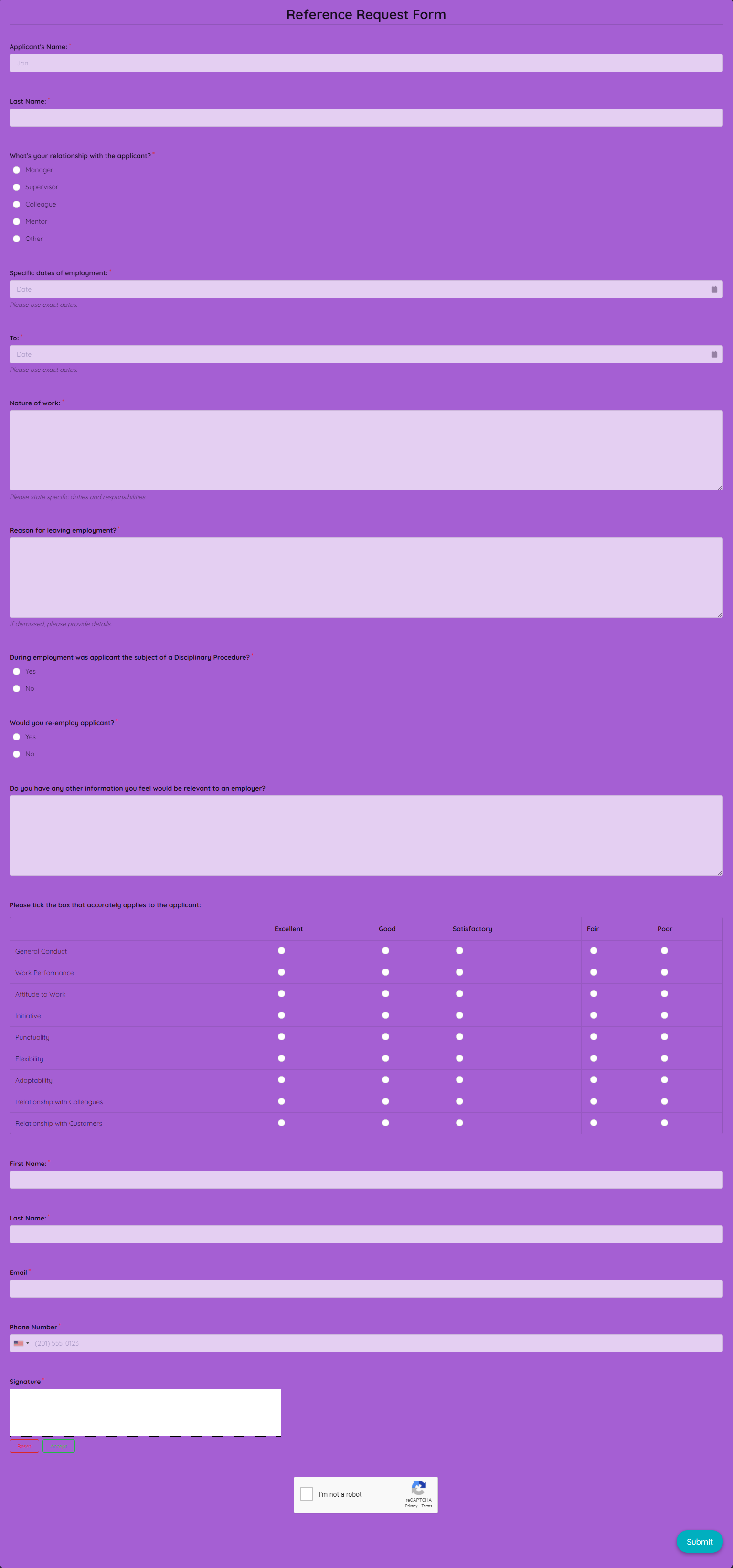 Reference Request Form Template template