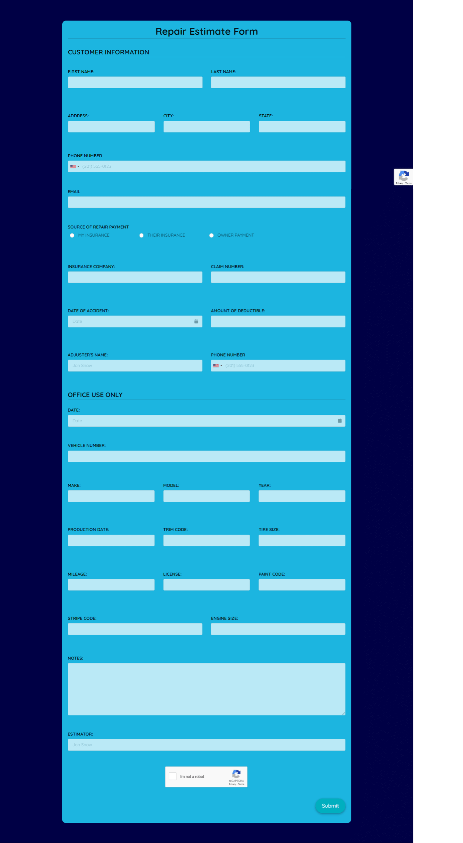 Repair Estimate Form  Template template