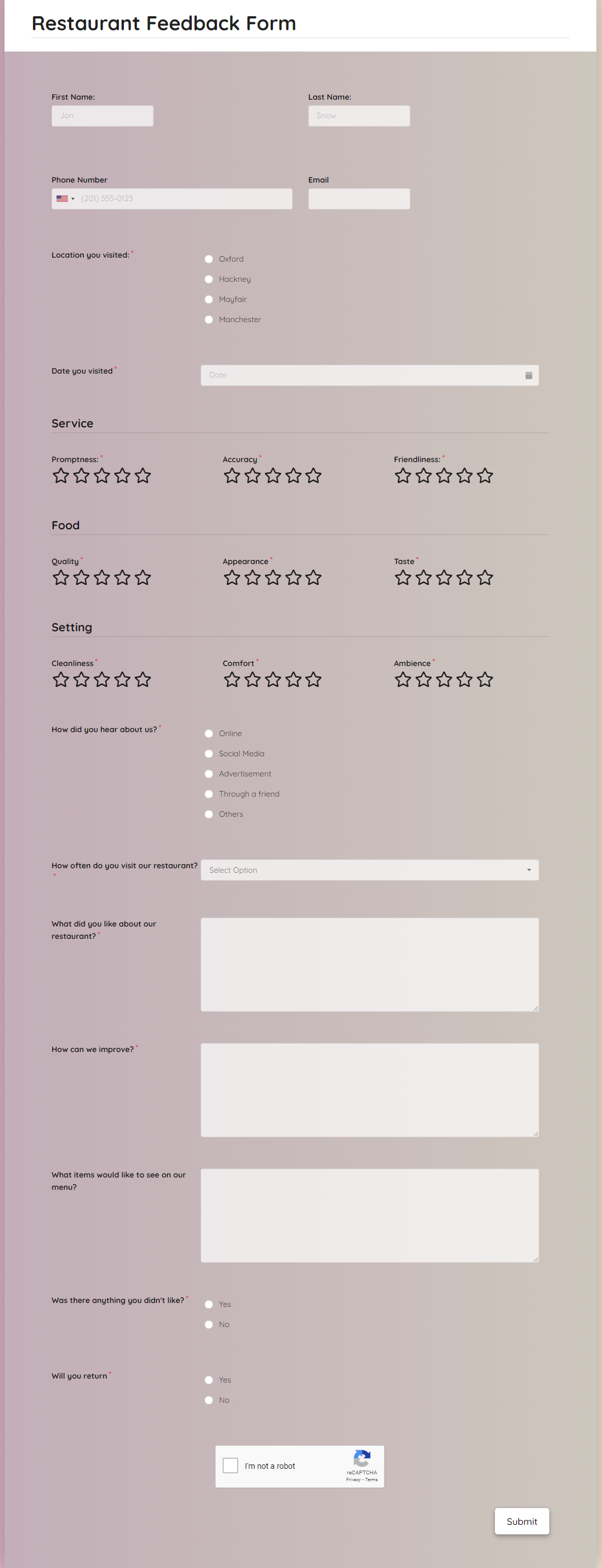 Restaurant Feedback Form Template template