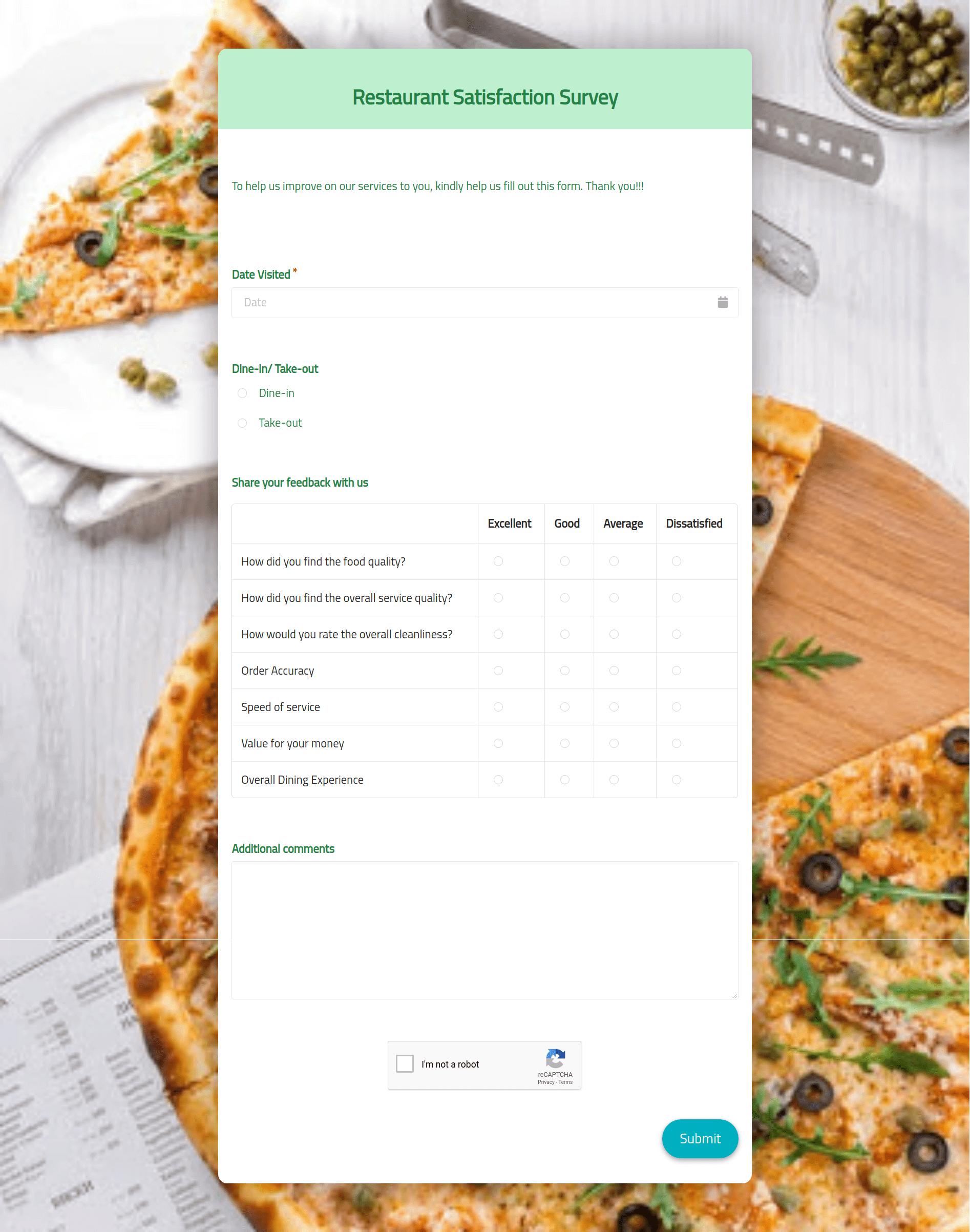Restaurant Satisfaction Survey Template template