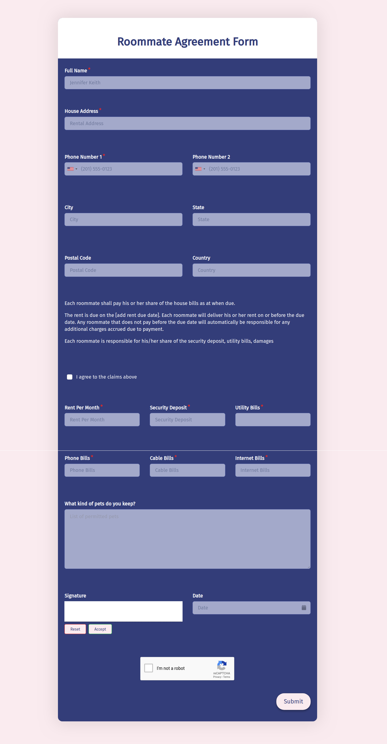 Roommate Agreement Form Template template