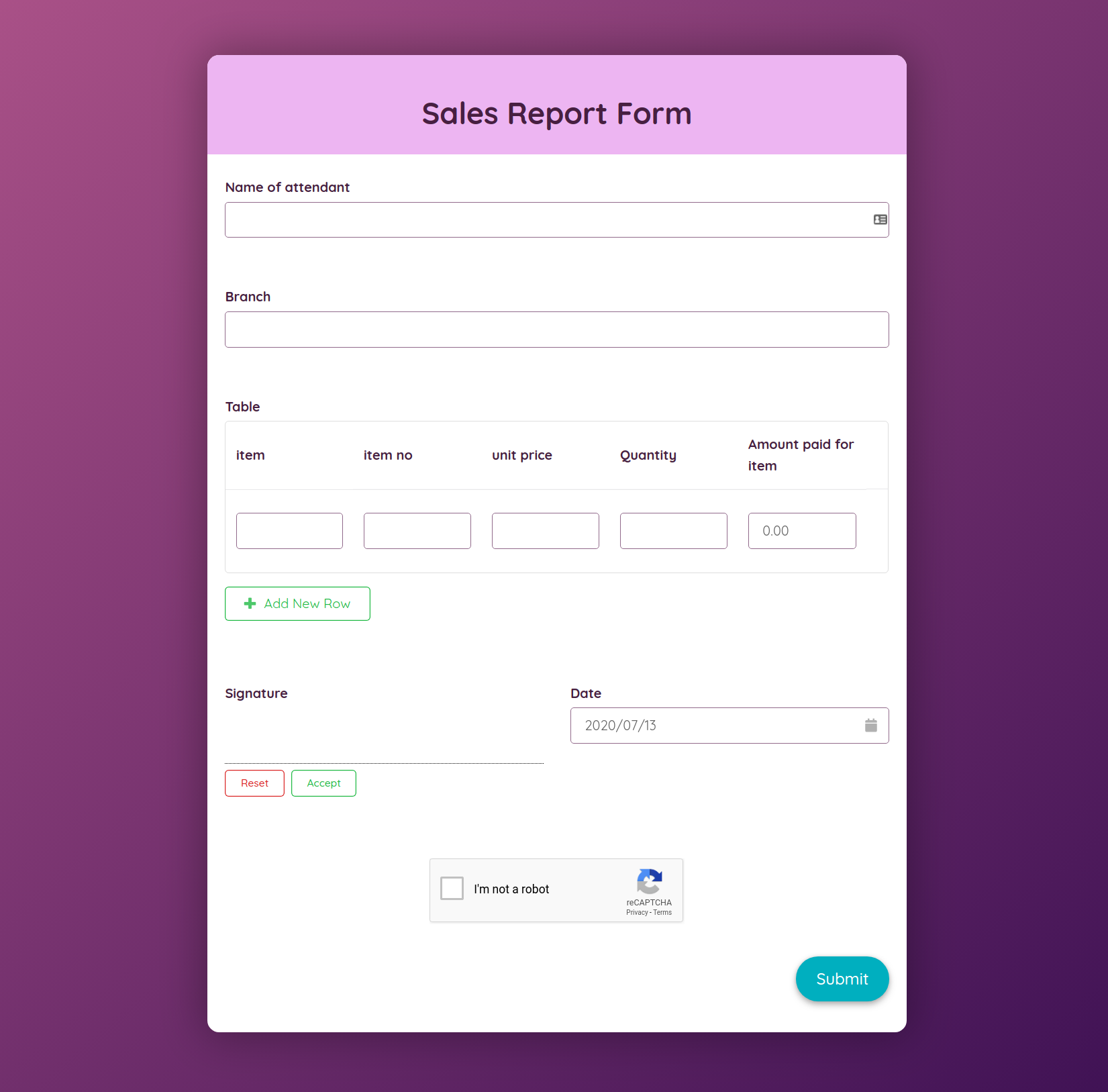 Free Sales Report Form Template template