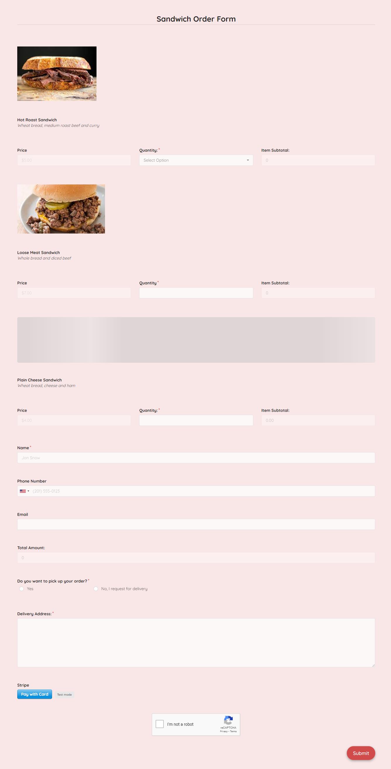 Sandwich Order Form Template template