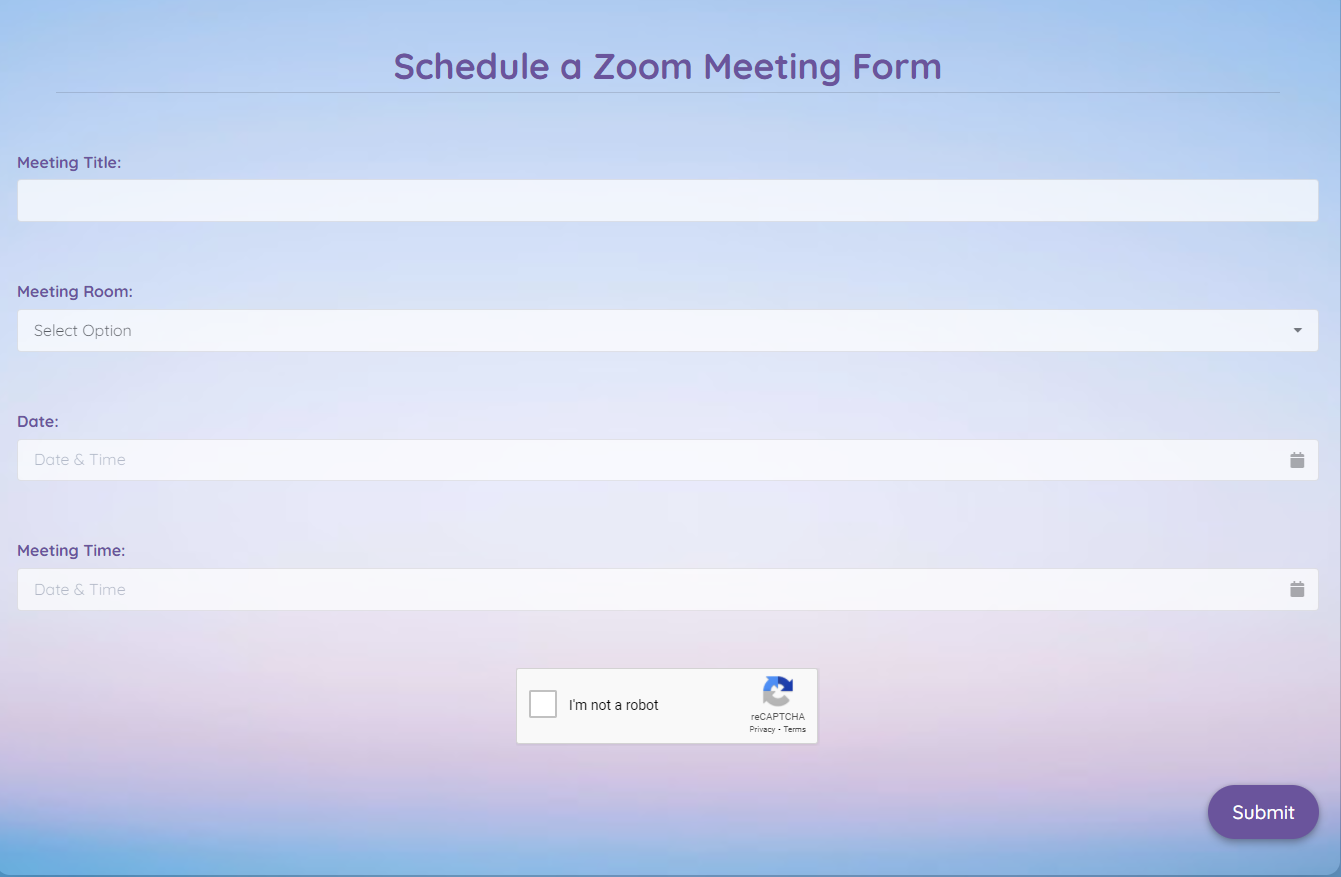 Schedule A Zoom Meeting Form Template template
