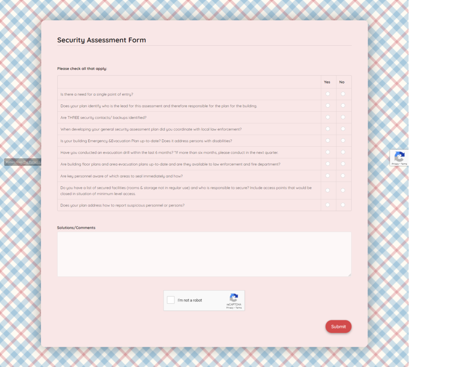 Security Assessment Form Template template