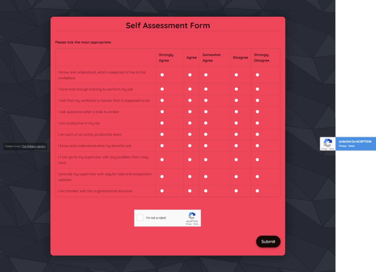 Self Assessment Form Template template