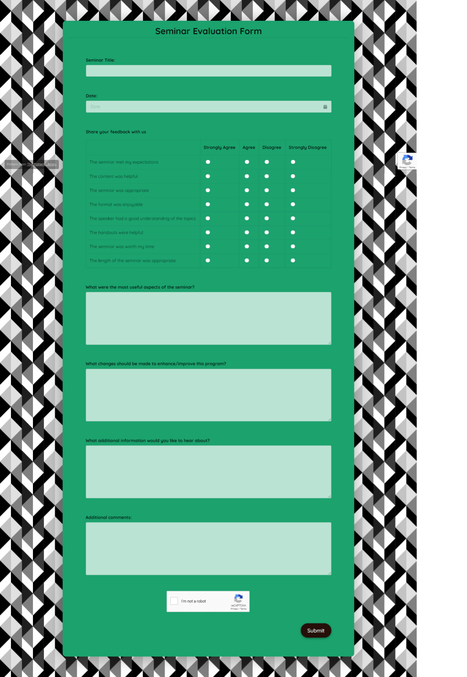 Seminar Evaluation Form Template template
