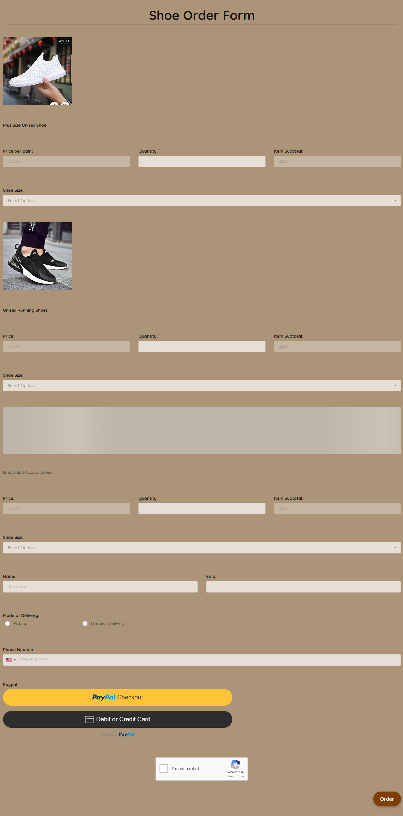 Shoe Order Form Template template