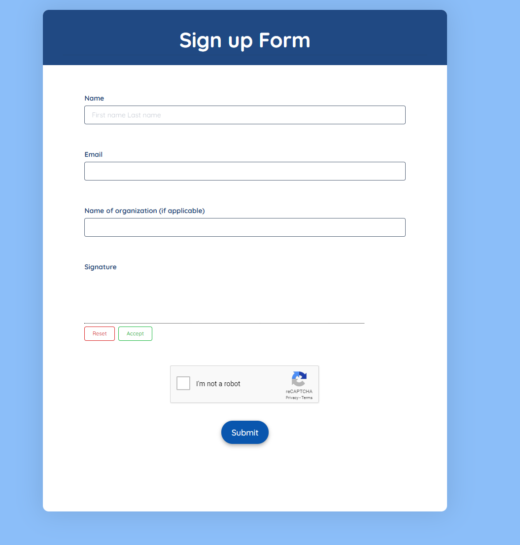 Sign Up Registration Form Template template
