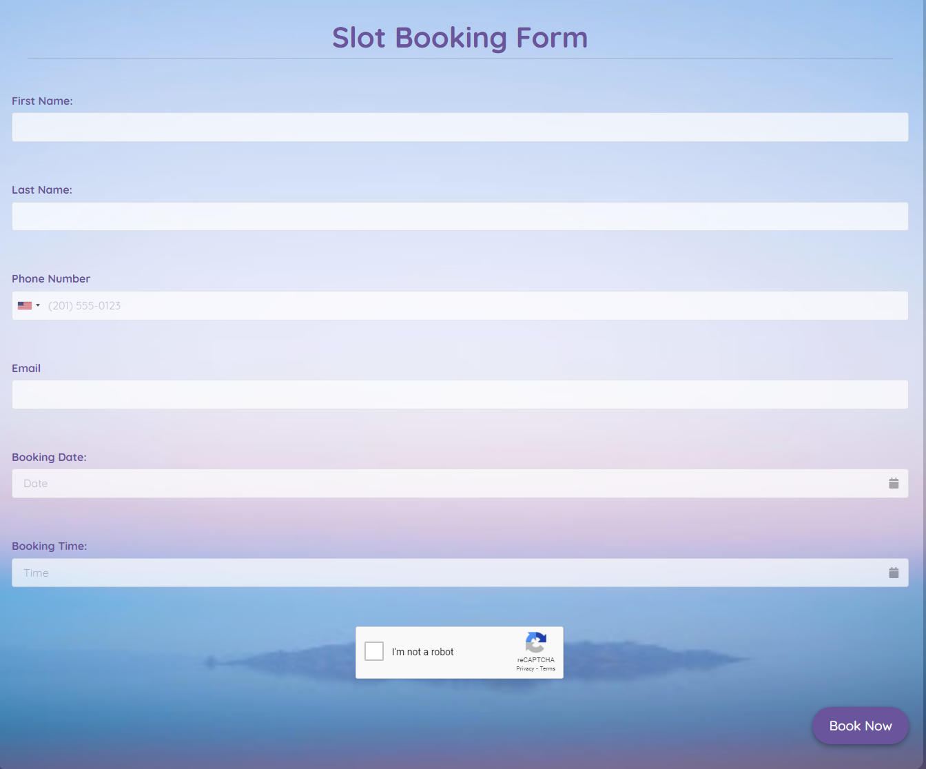 Slot Booking Form Template template