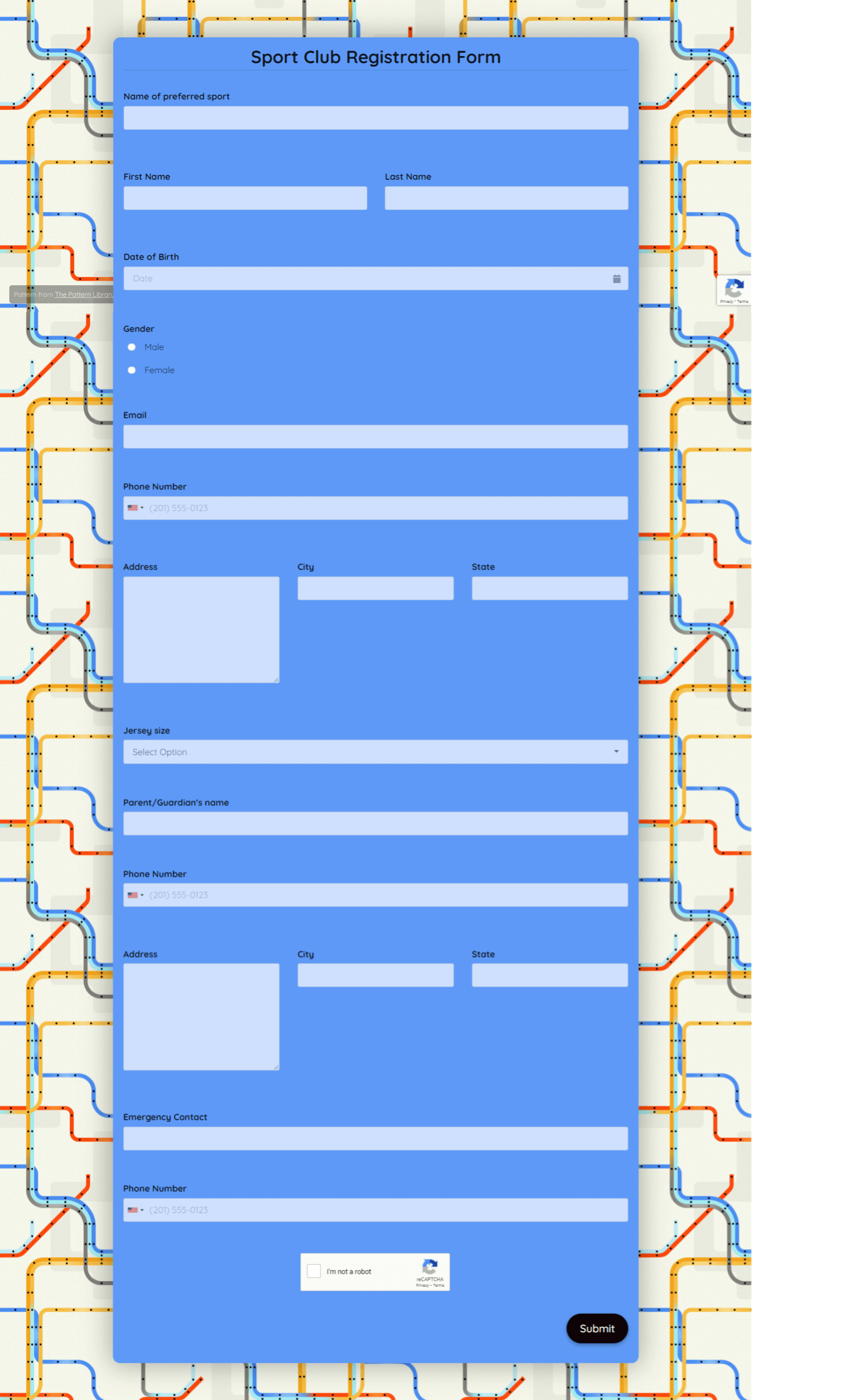 Sport Club Registration Form Template template