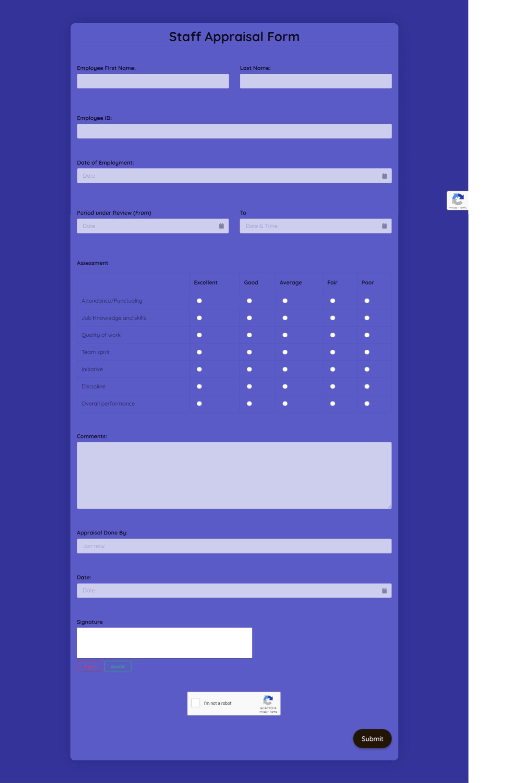 Staff Appraisal Form Template template
