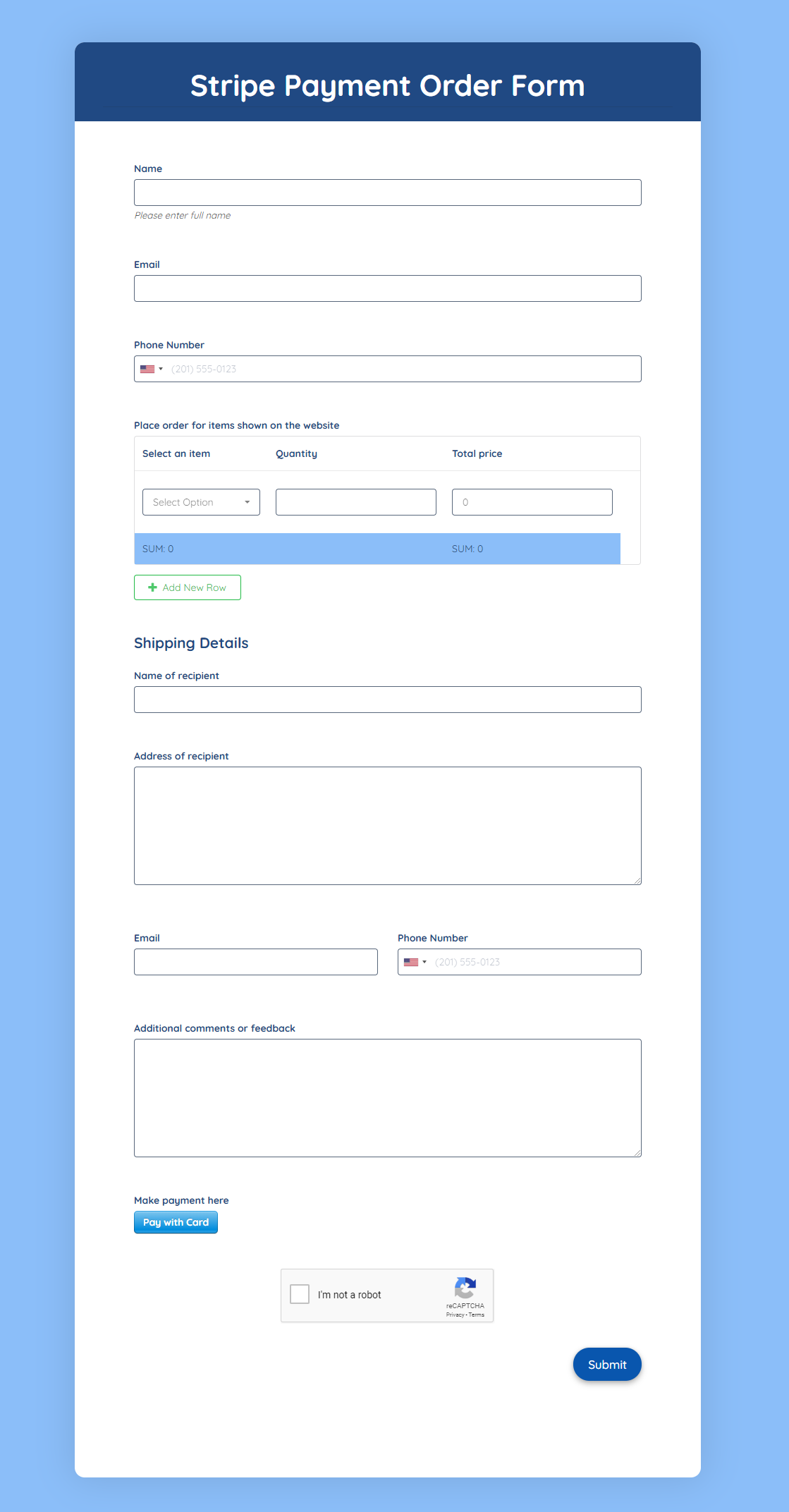 Stripe Payment Order Form template
