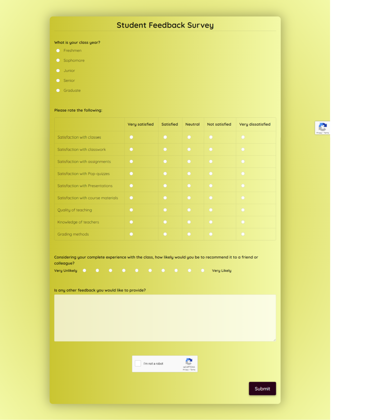 Student Feedback Survey Template template
