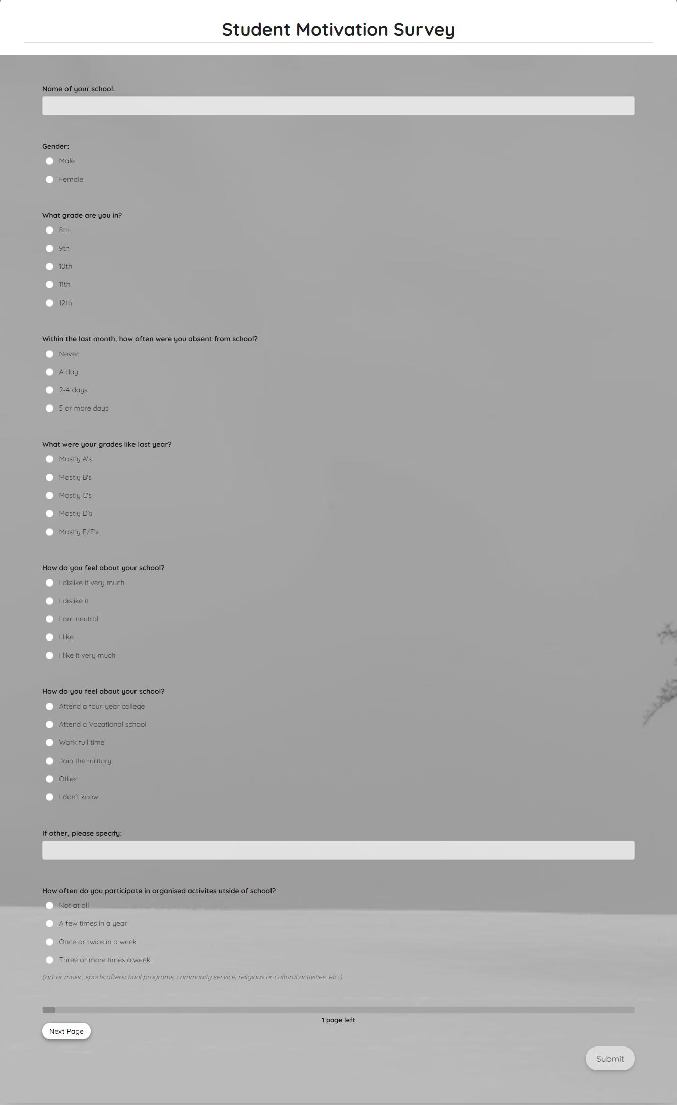 Student Motivation Survey Template template