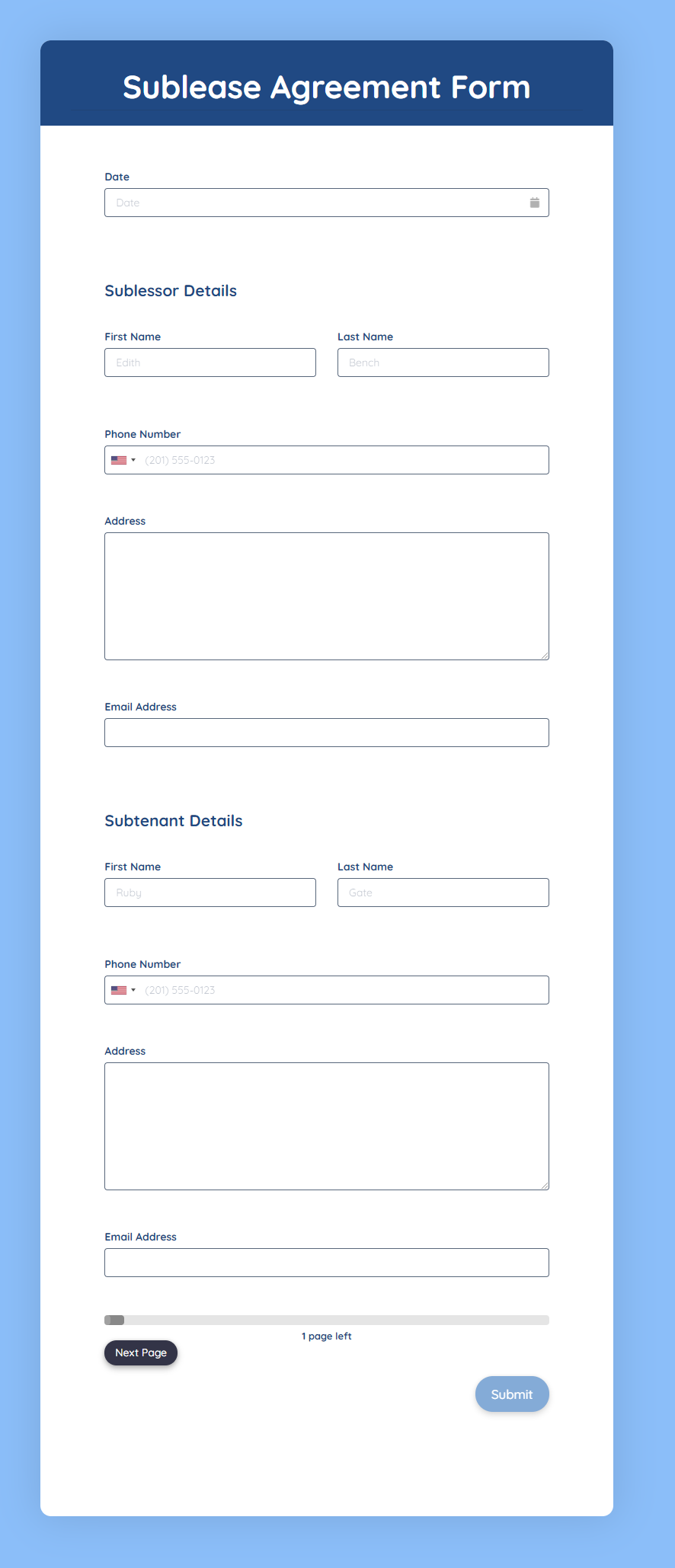 Sublease Agreement Form Template template