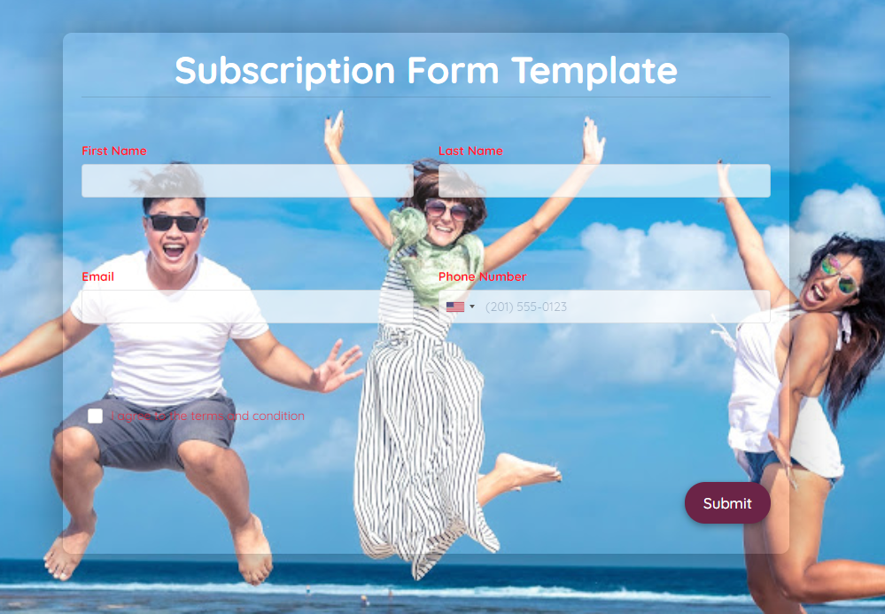 Subscription Form Template template
