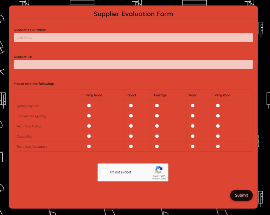 Supplier Evaluation Form Template template