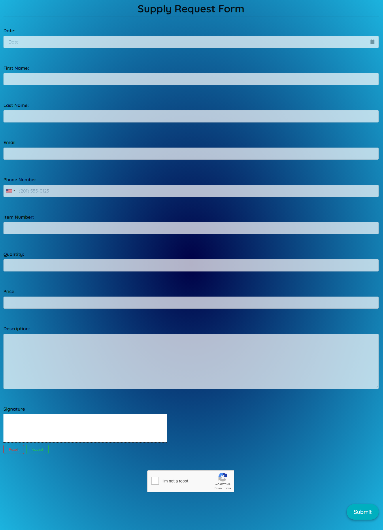 Supply Request Form Template template