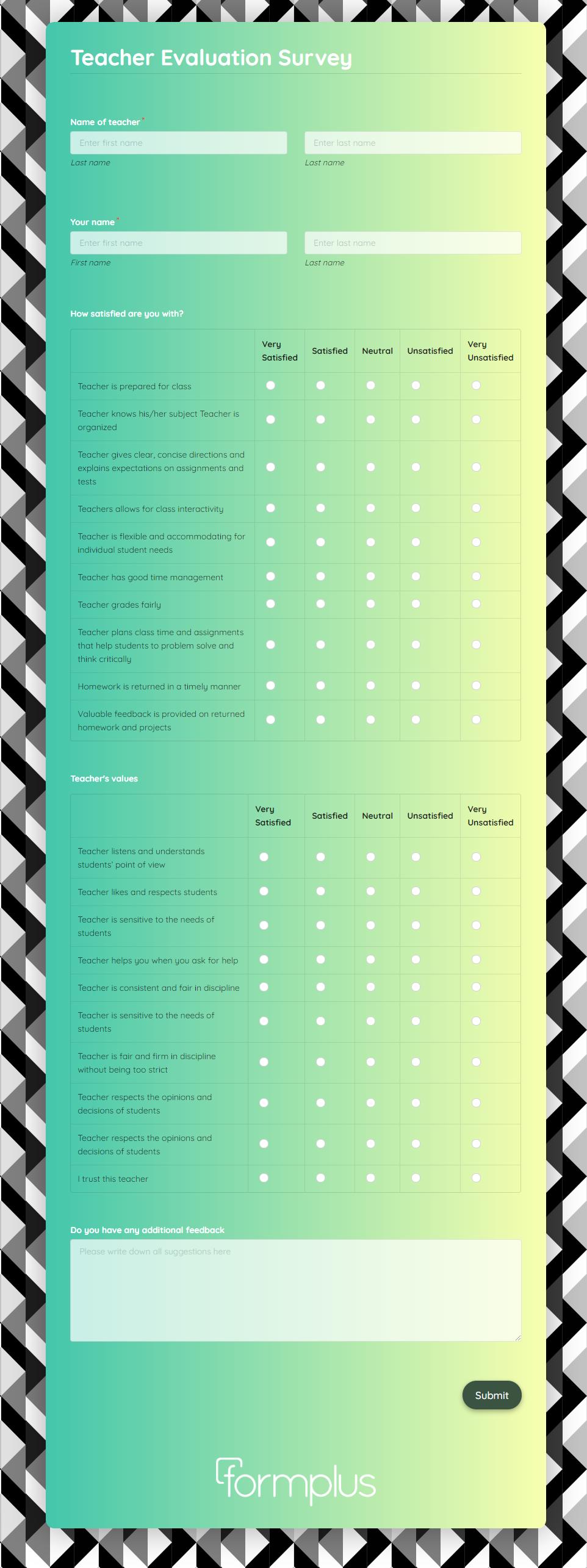 Teacher Evaluation Survey Template template
