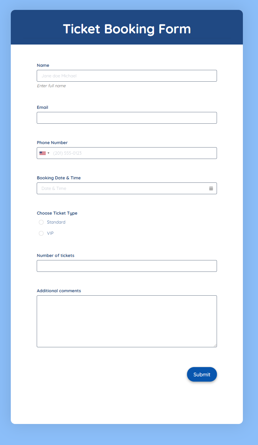 Ticket Booking Form Template template