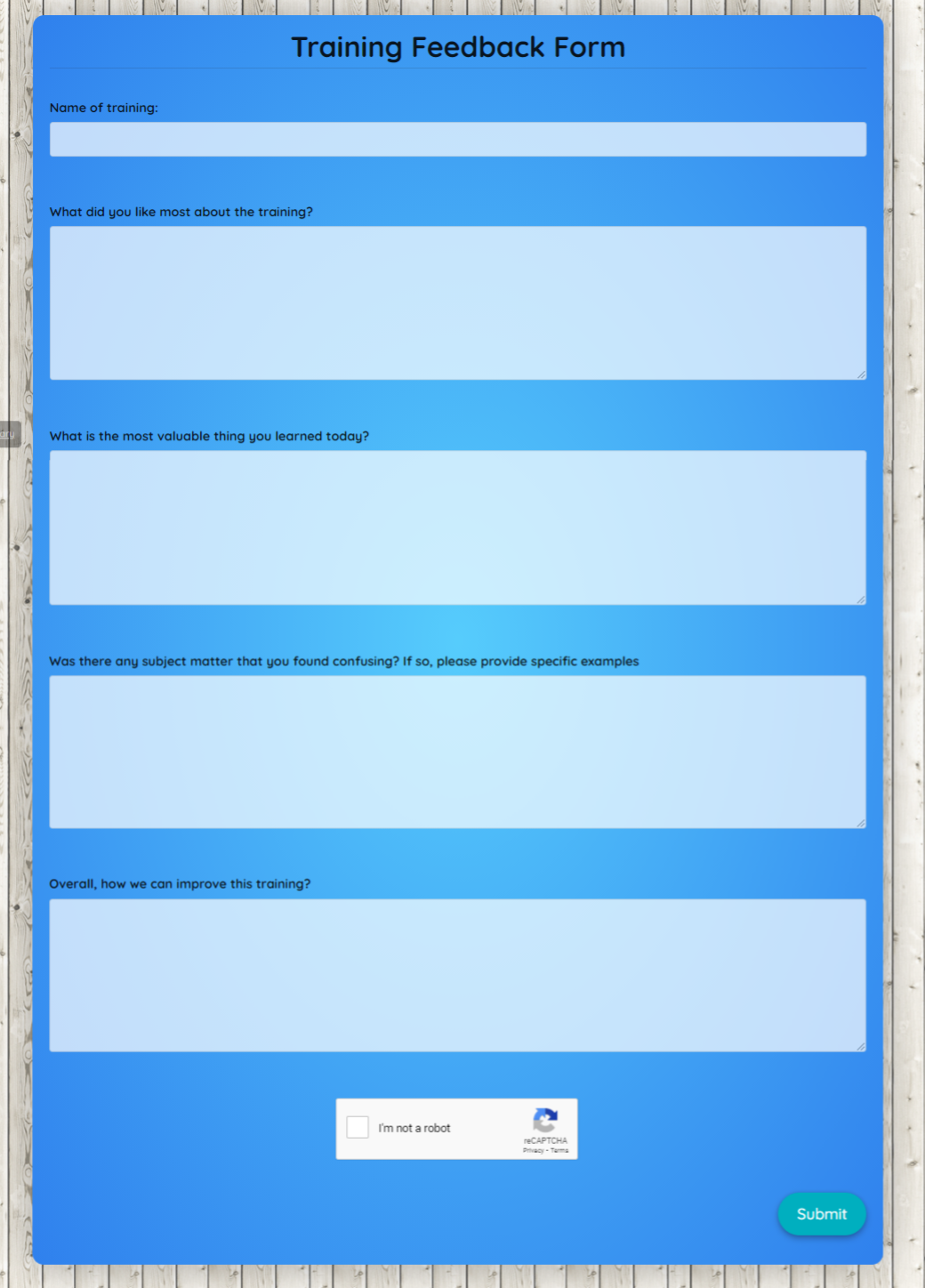 Training Feedback Form Template template