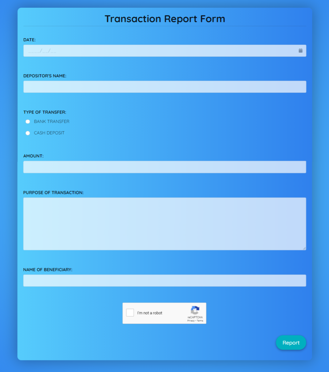 Transaction Report Form Template template