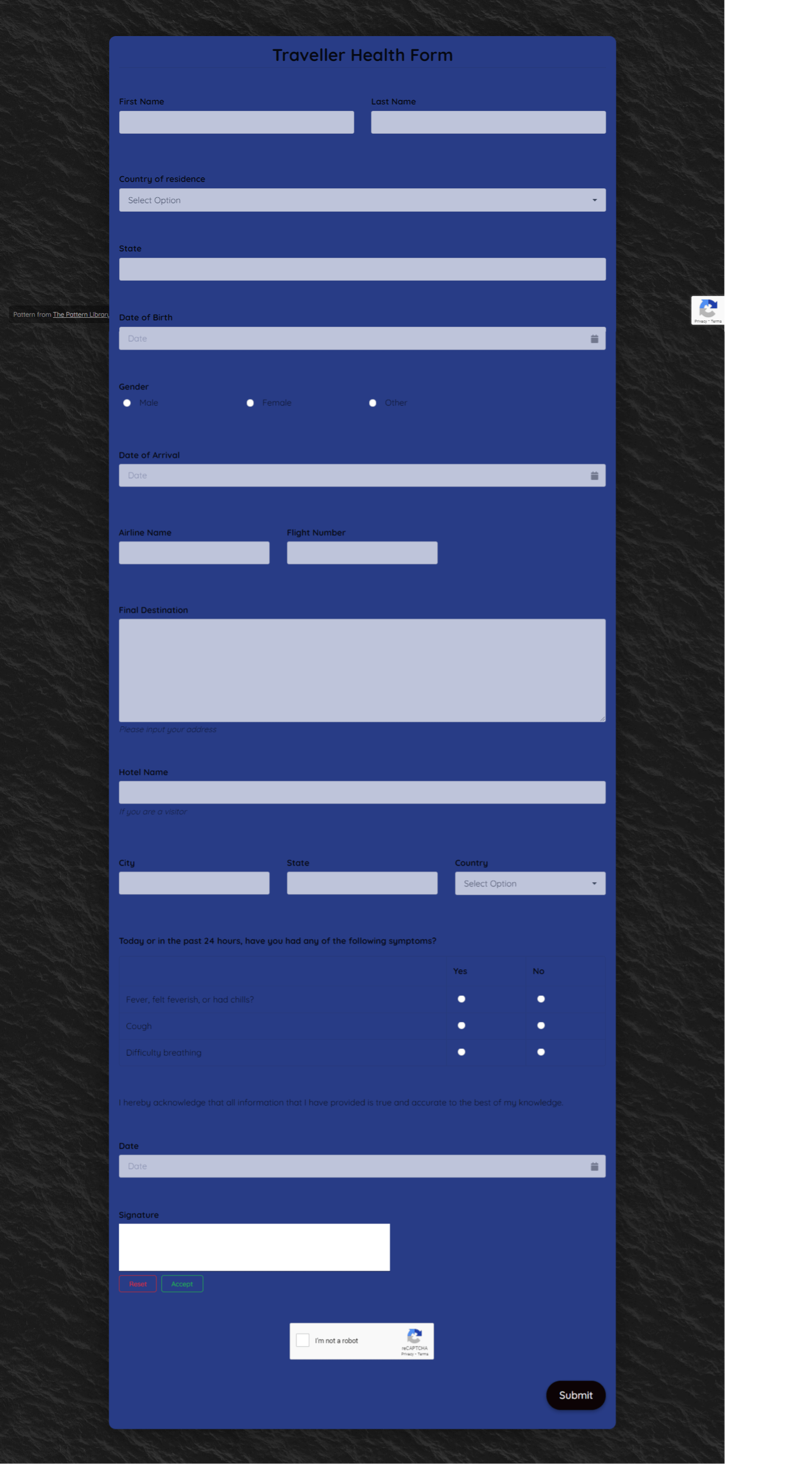 Traveller Health Form Template template