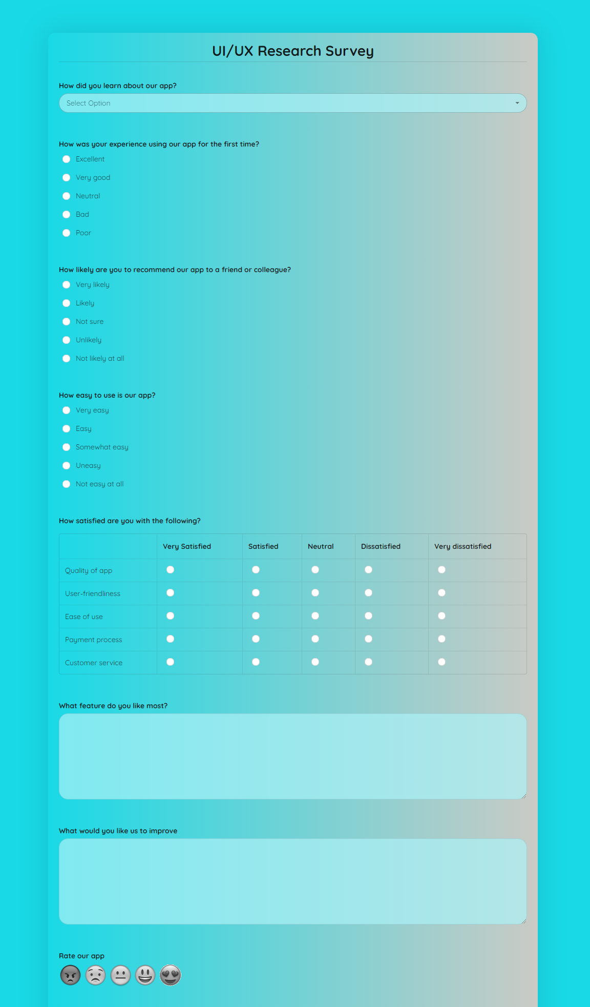 User Experience Research Survey Template template