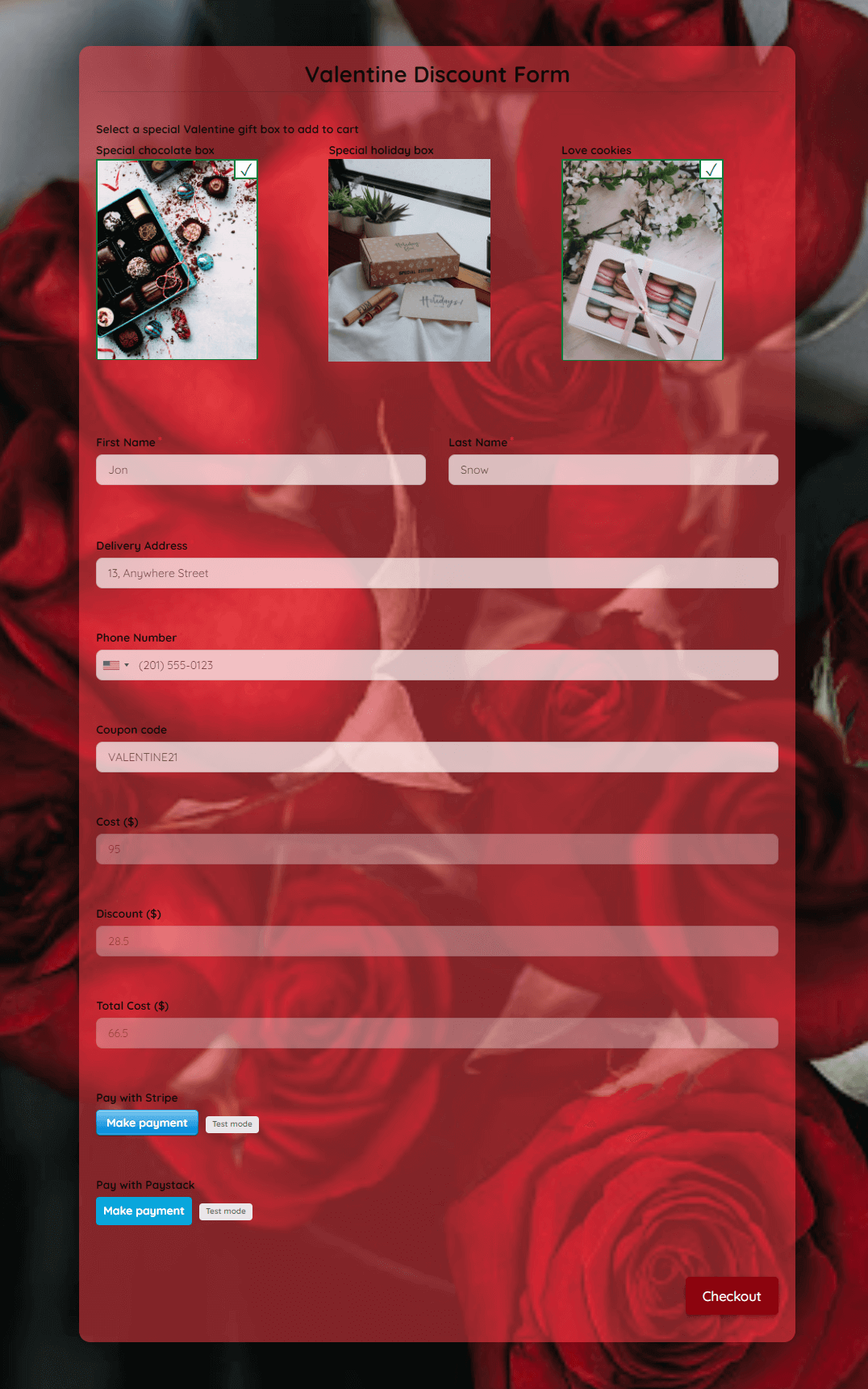 Valentine Discount Form Template template