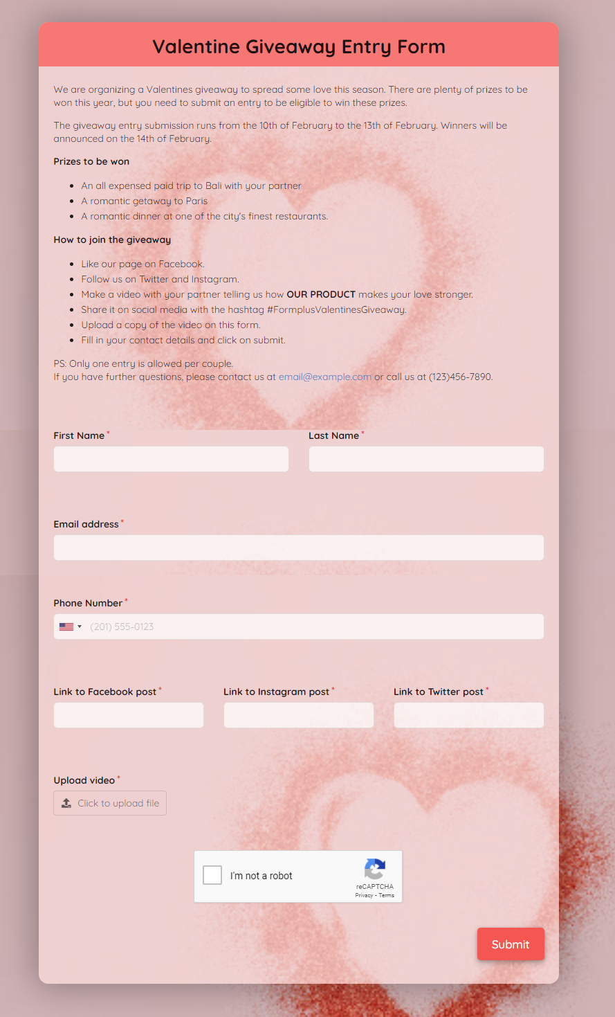 Valentine Giveaway Entry Form Template template