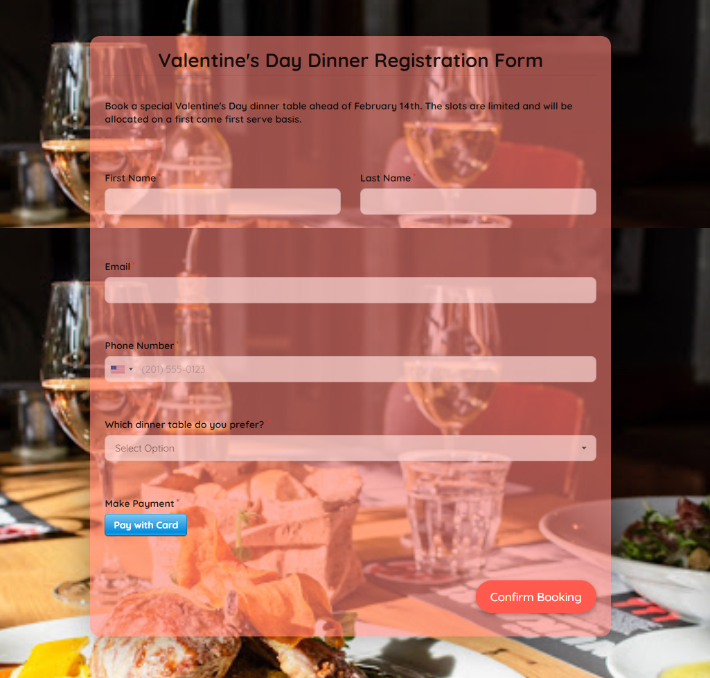 Valentines Day Dinner Registration Form Template template