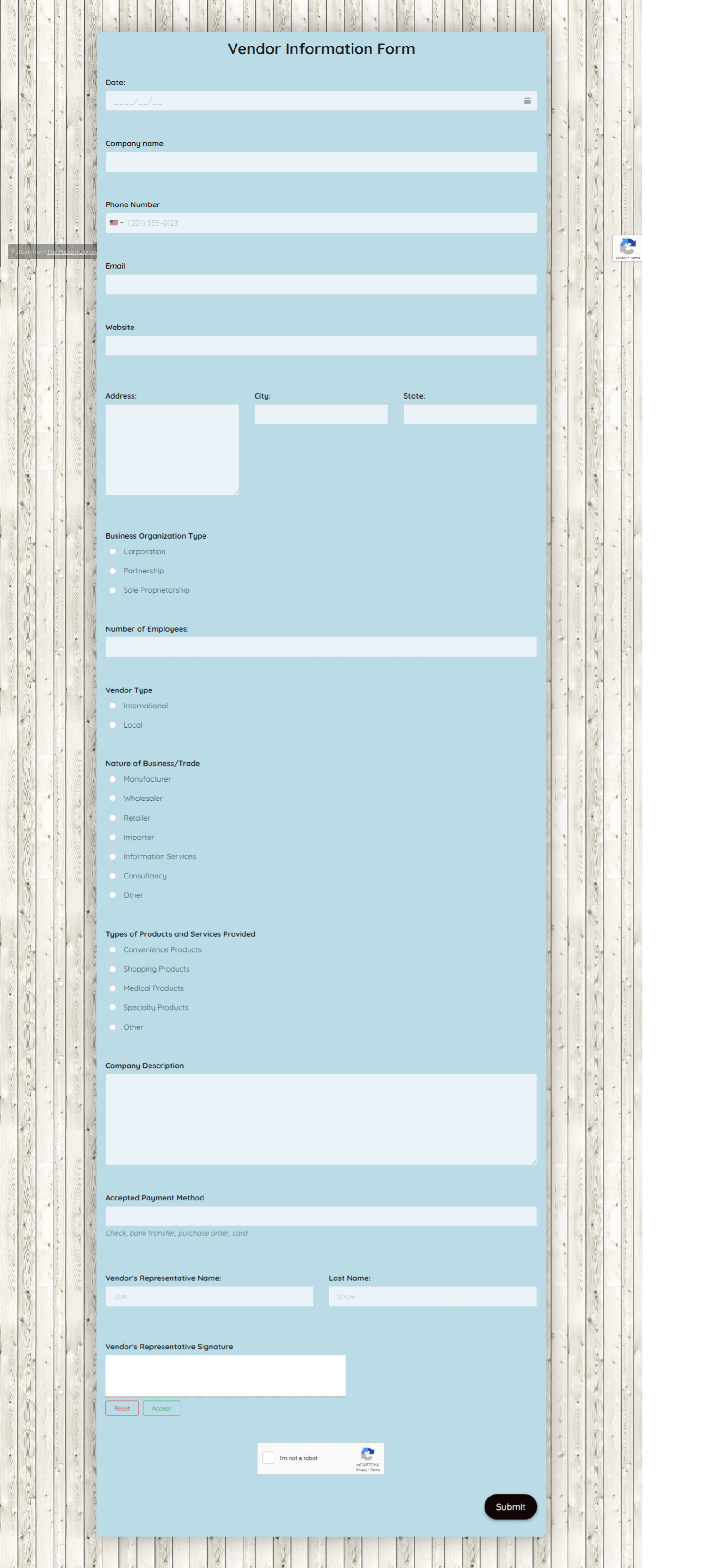 Vendor Information Form Template template