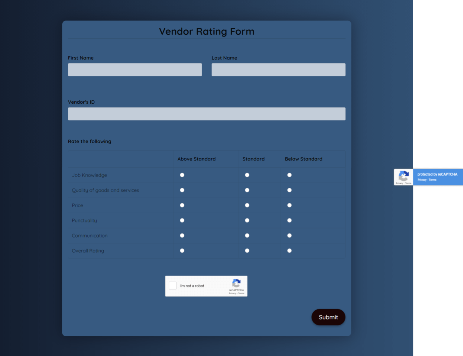 Free Vendor Rating Form Template template
