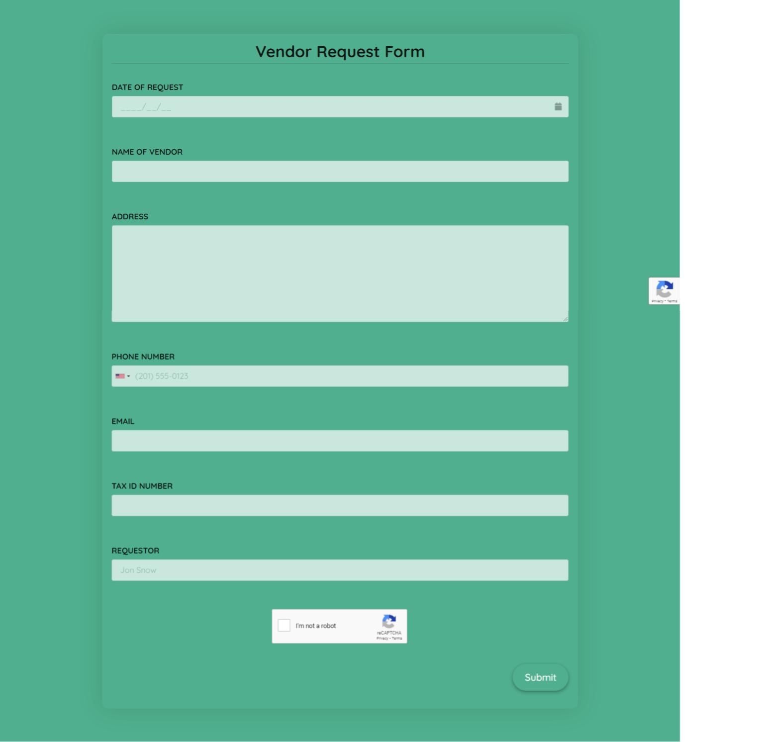 Vendor Request Form Template template