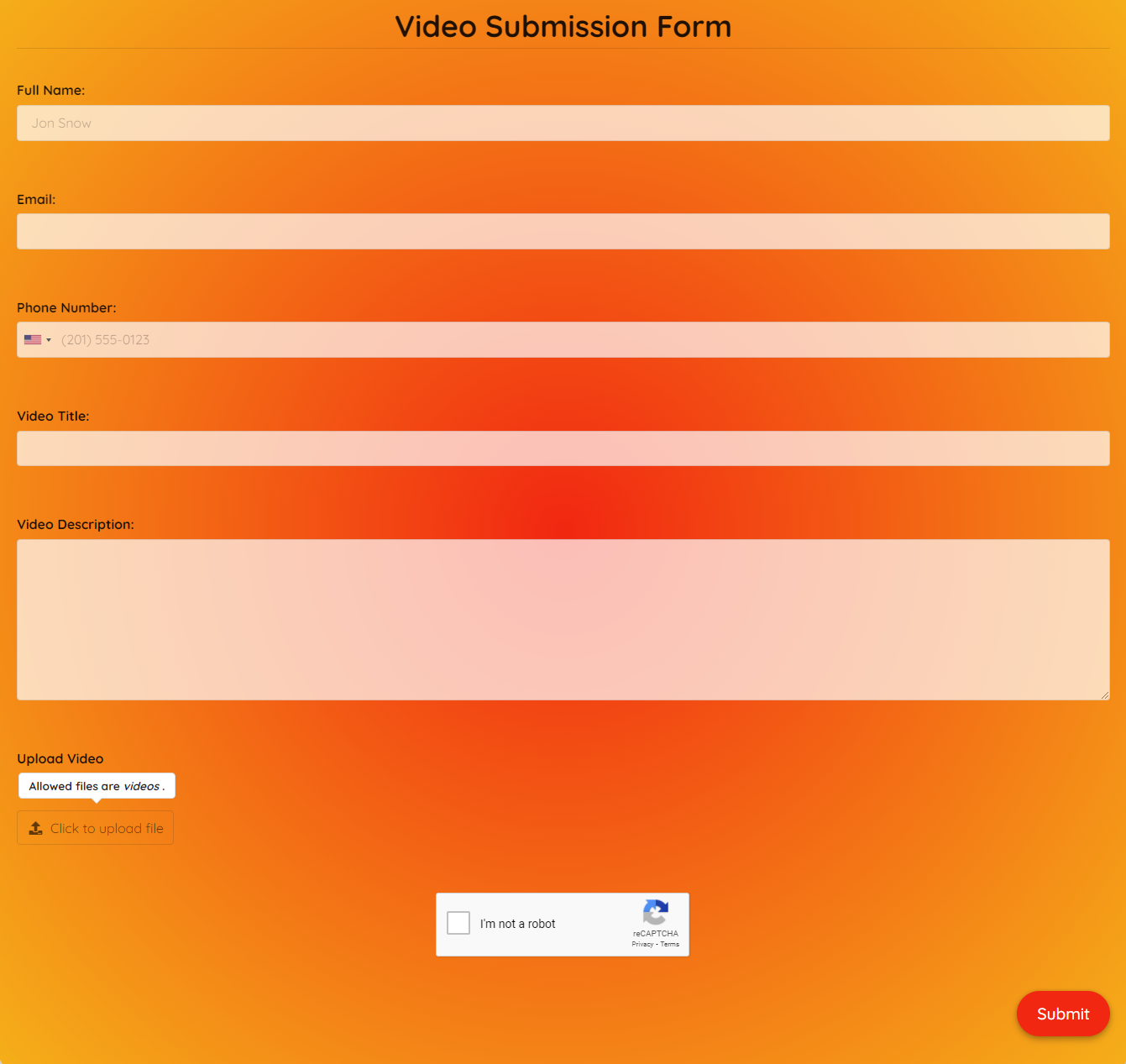 Video Submission Form Template template